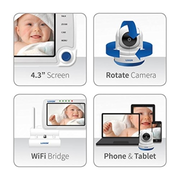 Luvion 71 Supreme Connect Digitales Babyphone mit Videofunktion, 4,3 Zoll Farbbildschirm, Dual-Modus (optional WiFi), weiß - 3