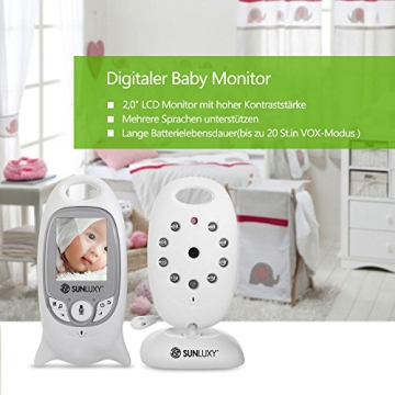 SUNLUXY® 2 Zoll Farb Wireless Baby Monitor Digitales Babyphone Control+Video 2-Wege 5M IR Nachtsicht mit Videofunktion Weiß - 2