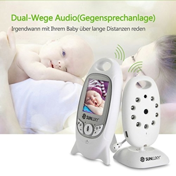 SUNLUXY® 2 Zoll Farb Wireless Baby Monitor Digitales Babyphone Control+Video 2-Wege 5M IR Nachtsicht mit Videofunktion Weiß - 3